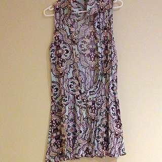 Floral Button Front Dress Size Xs