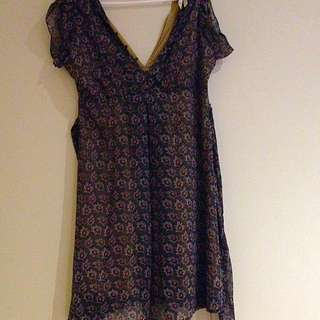 Floral Chiffon Lined Dress Size 8