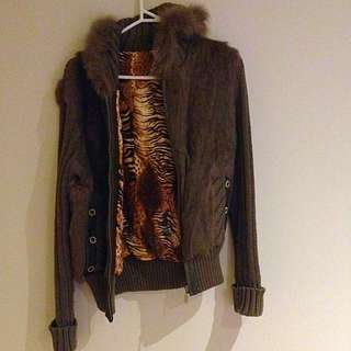Real Fur Leopard Lined Zip Front Hooded Jumper/cardigan