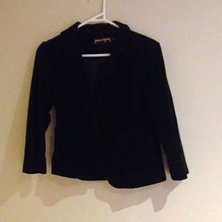 Princess Highway Black Velvet 3/4 Sleeve Blazer