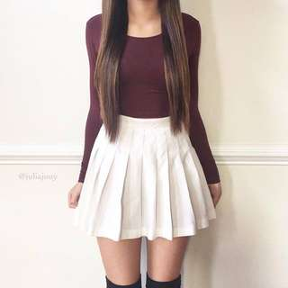Burgundy Long Sleeves And/or White Plated Skirt