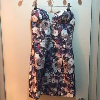 Floral Strapless Dress 8