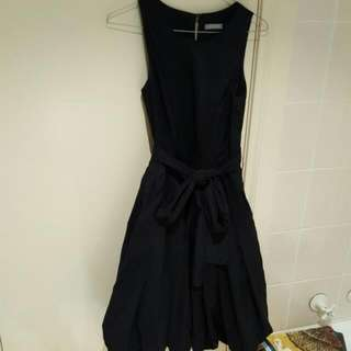 Jigsaw Ink Navy Dress With Matching Sash And Tulip Skirt Size 6