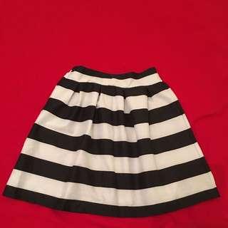 Black And White Strip Skirt