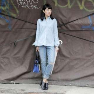 Nude 二月連線淺藍色襯衫