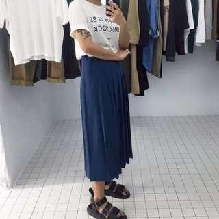 2143 藍綠色百褶長裙