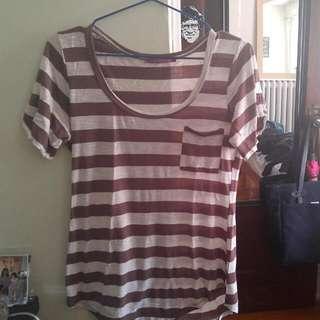 White & Brown Striped Shirt