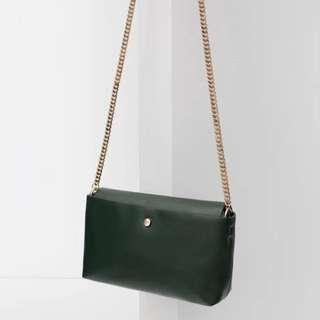 Zara  綠色金鏈小包