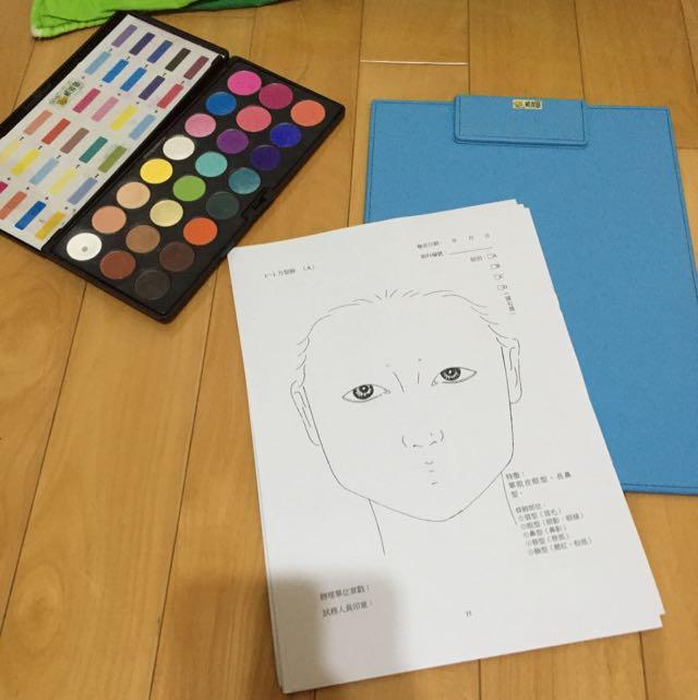 美容乙級紙圖,眼影盤,畫板