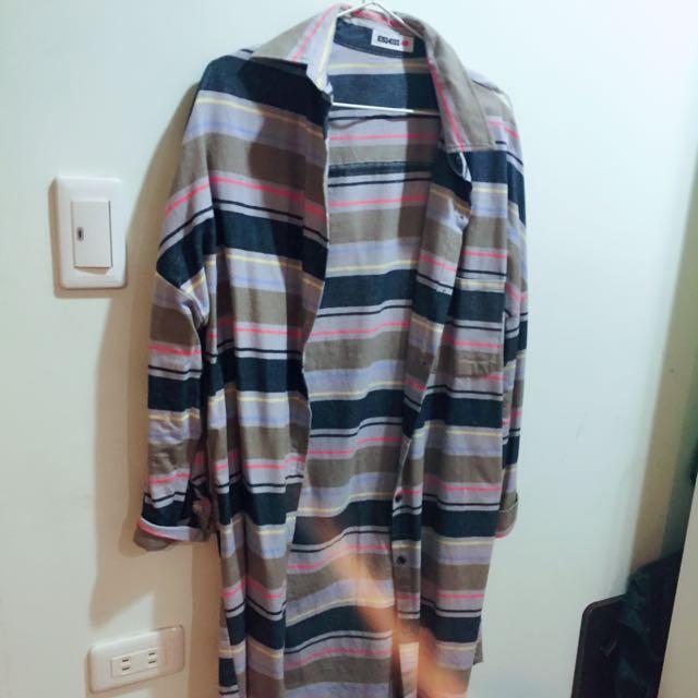 條紋長版襯衫