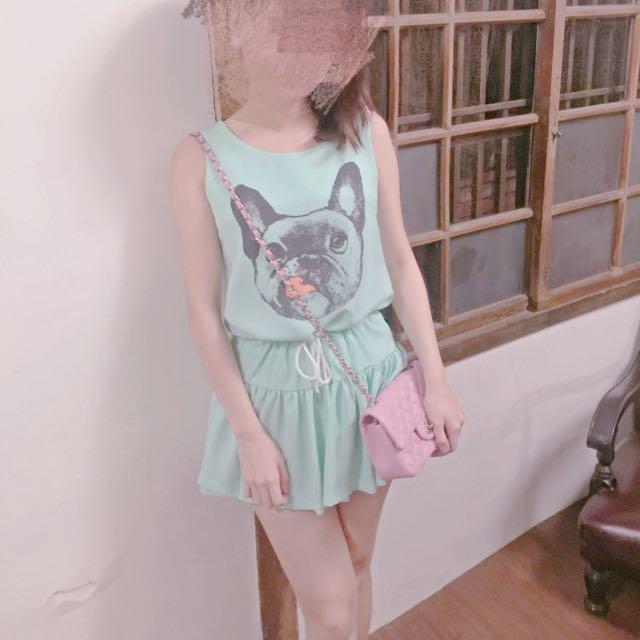 韓國 鬥牛犬粉綠洋裝