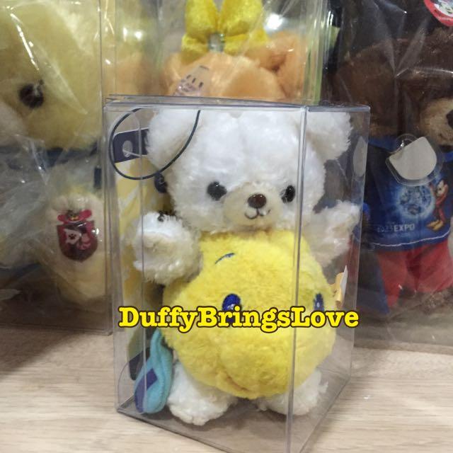 大學熊 珠鏈 金鏈 達菲 日本/香港站姿PVC展示盒 一組五個