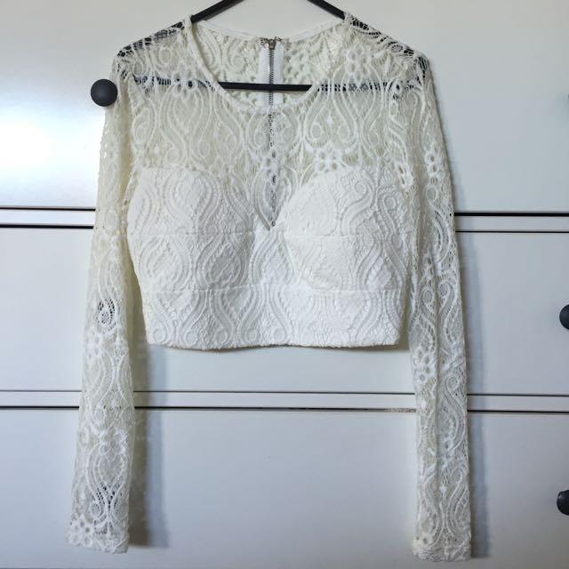 ACHE White Lace Crop