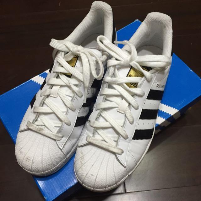 ADIDAS SUPERSTAR 80S DLX 白黑 皮革 金標 貝殼頭 男女鞋 US7 25cm