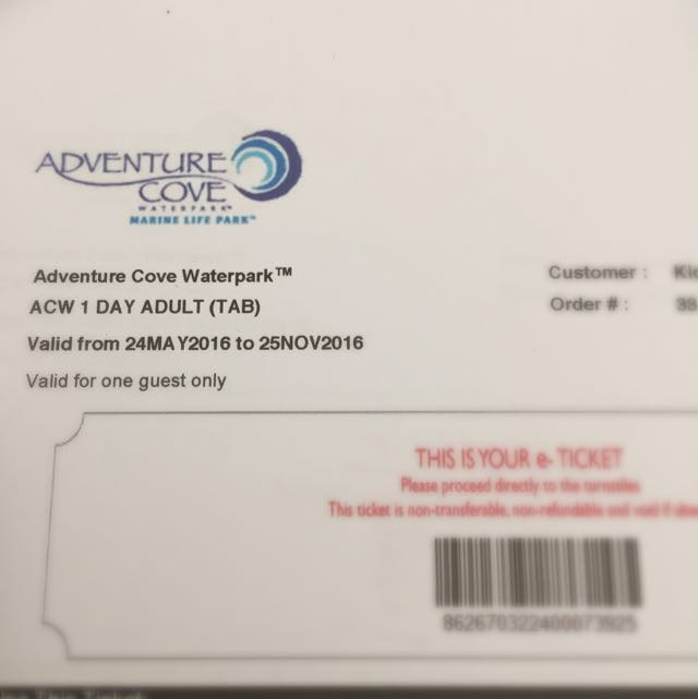 Adventure cove Ticket
