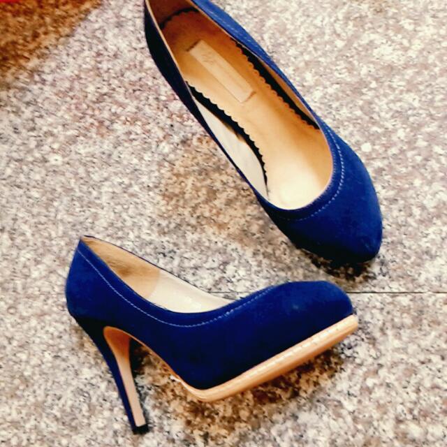 air space 寶藍色麂皮高跟鞋