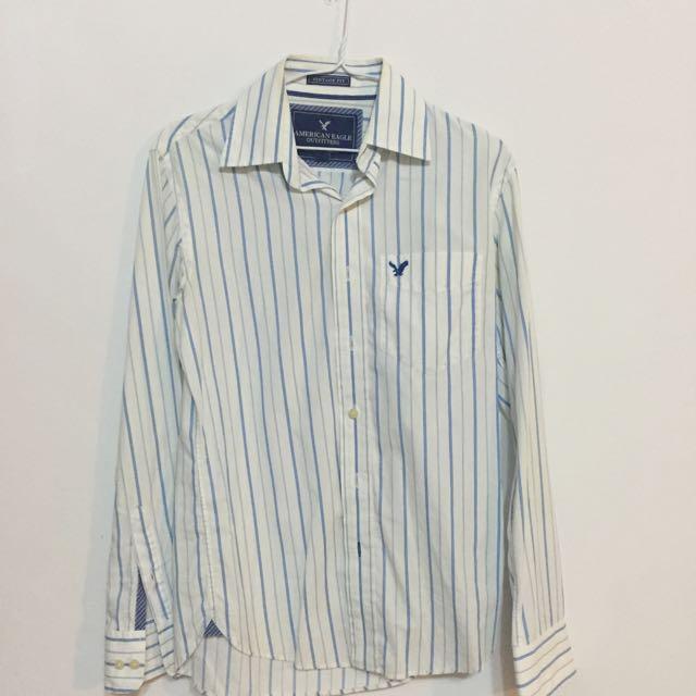 七成新/American Eagle男款白藍條紋襯衫XS號