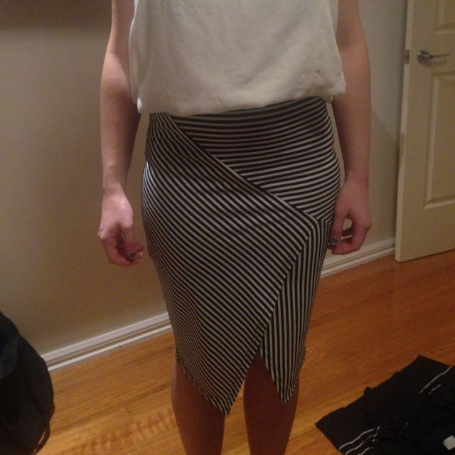 Black And White Mid Length Skirt