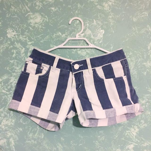 BlueWhite Striped Shorts