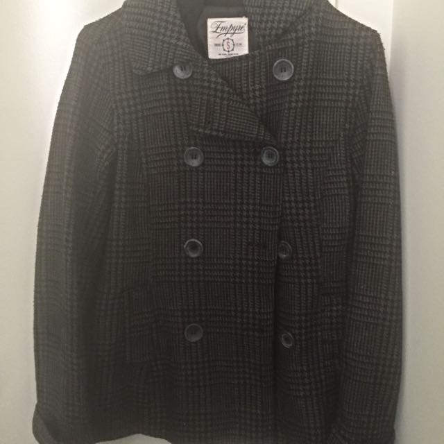 Checkered Winter Coat With Hoodie (size Small)