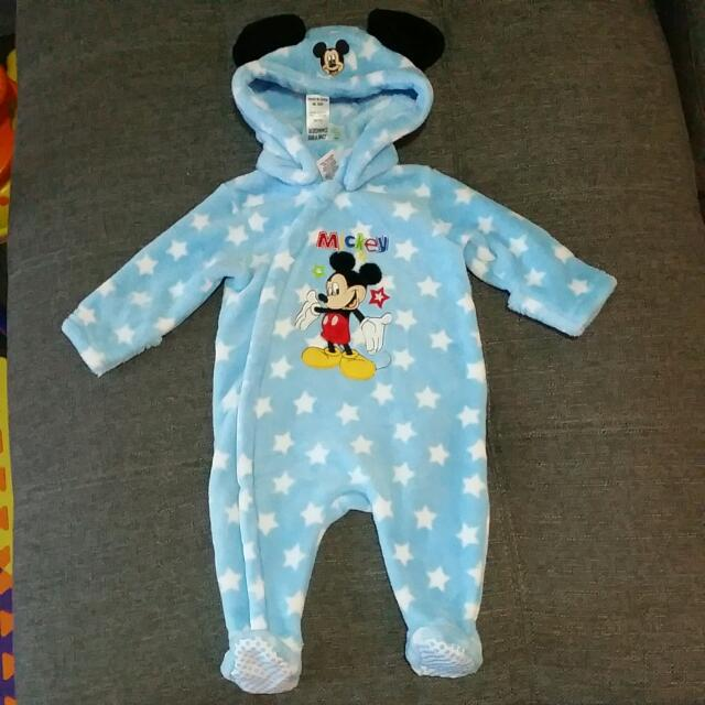 Disney Baby - Mickey Mouse Hooded Blue Plush Romper Playsuit. Size 00 8kg 68cm Warm & Fluffy.