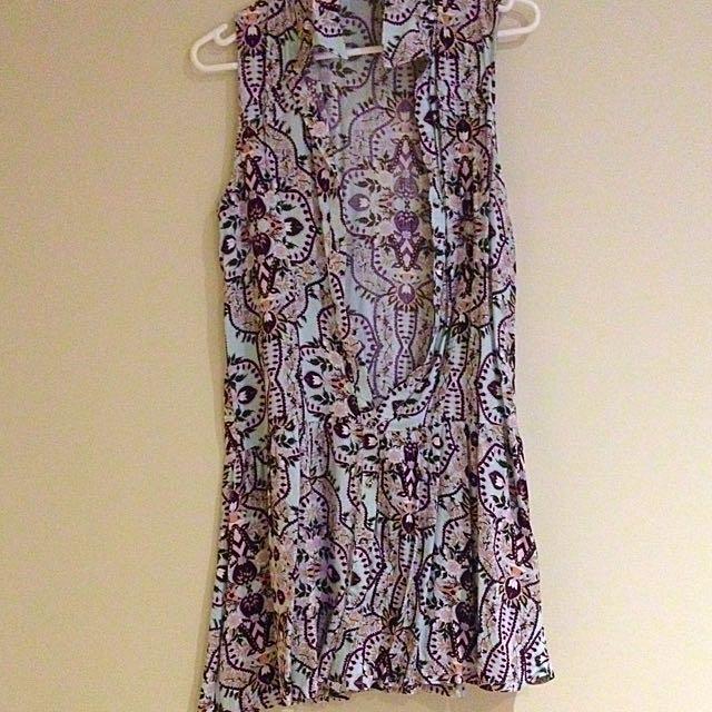 Floral Button Front Dress Size Xs