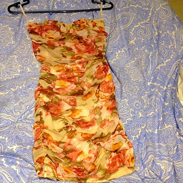 Floral Chiffon Lined Bodycon Dress Size 8