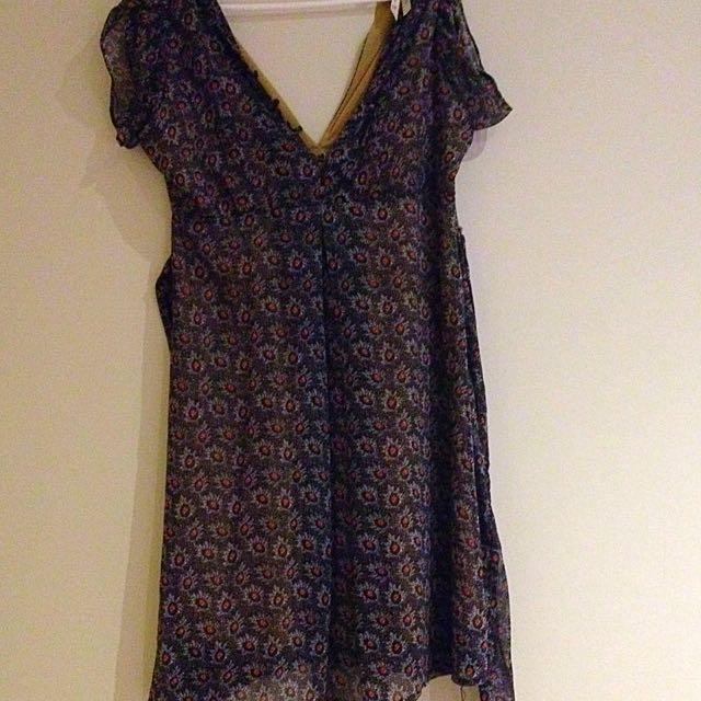 Floral Chiffon Lined Dress Size 8