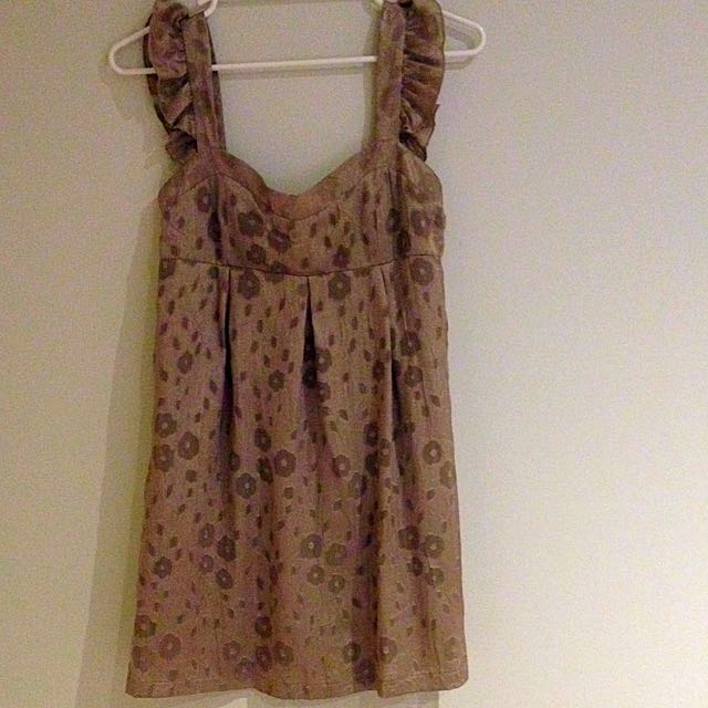 Gold Metallic Floral Sweet Heart Dress Size M (would Fit S)