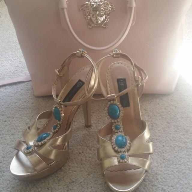 Gold Platform Heels With Turquoise And Diamond Elementa Forever New