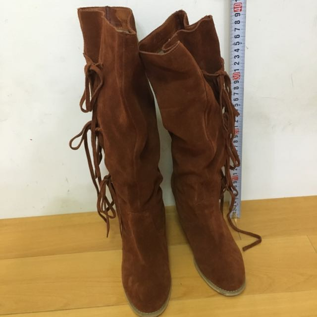 Gracegift 綁帶流蘇高筒靴 23.5