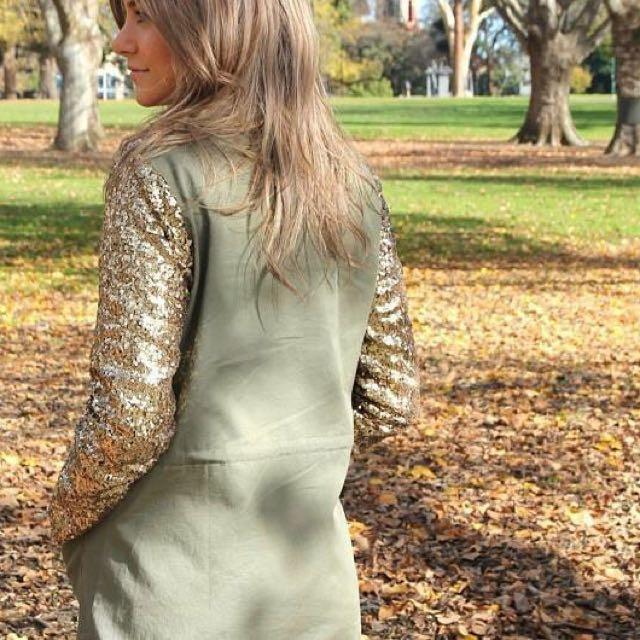 Khaki w/sequin Coat