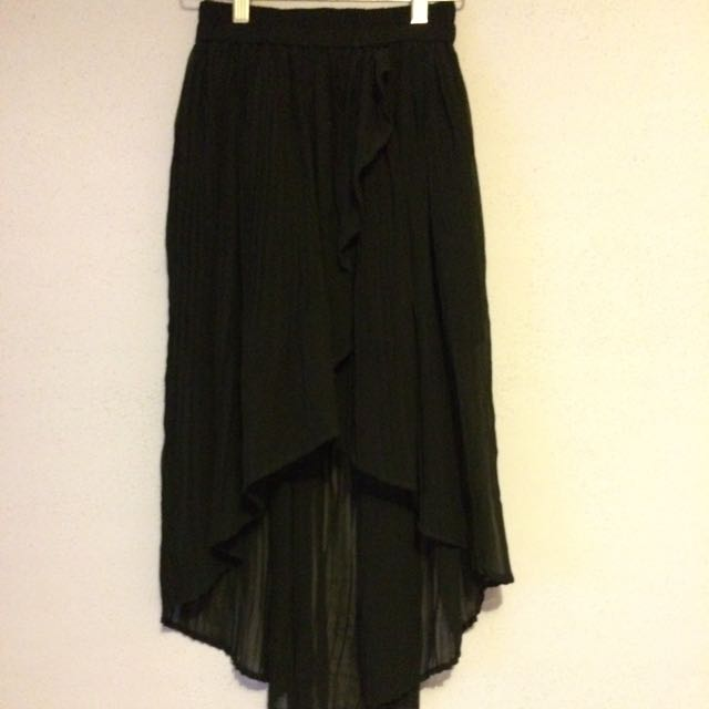 Kimchi Blue Black Chiffon High Low Skirt