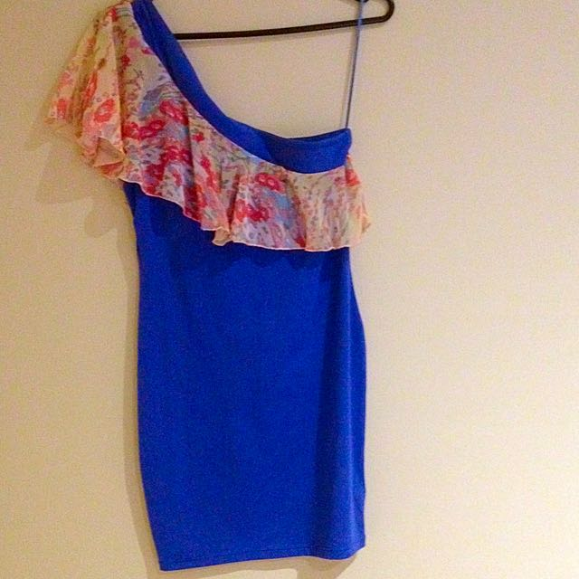 Lolita Royal Blue And Floral Chiffon One Shoulder Bodycon Dress Size 8