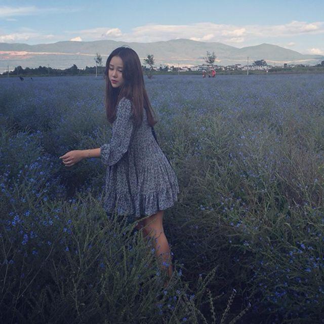 <LONG HAIR >夏天裙子女長袖秋冬韓版潮女裝甜美連衣裙女娃娃裙雪紡打底蛋糕裙
