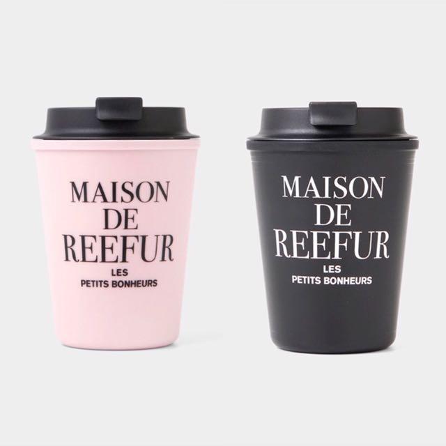 日本梨花店Maison de reefur logo 隨手杯粉底黑字 /黑底粉字