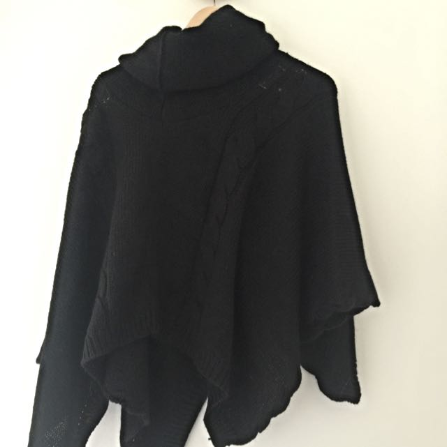 No Brand High Neck Black Knitted Poncho