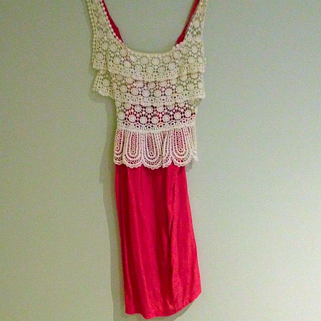 Pink And Lace Summer Dress Size 8