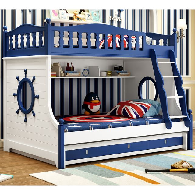 Po Children S Combination Bed Bedroom Set Blue Nautical Theme