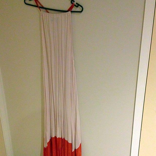 Qui Qui Size 8 Floor Length Cream And Orange Tie Up Dress