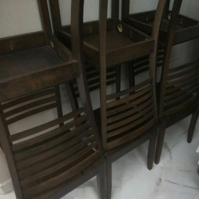 rubber wood dining table with 6 chairs home furniture on carousell