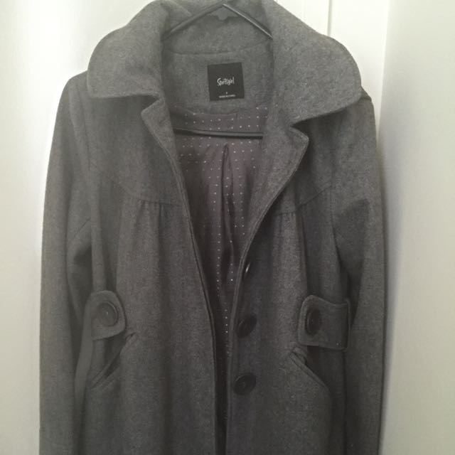 Sportsgirl Grey Winter Coat With Removable Hoodie (Size 6)