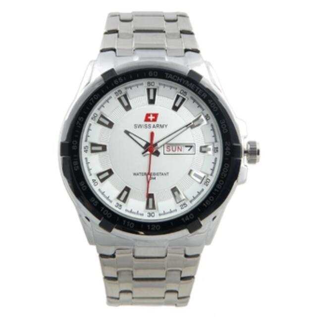 Swiss Army Combo Jam Tangan Pria Silver Putih Stainless Steel