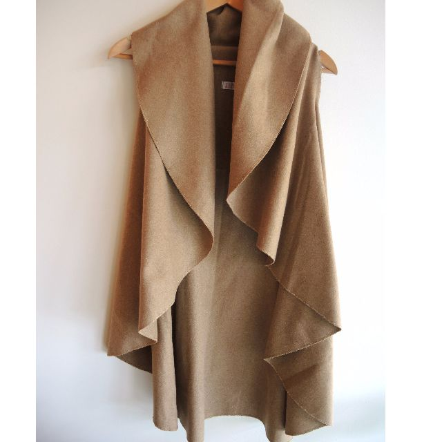 Tan Camel Waterfall Style Duster Vest