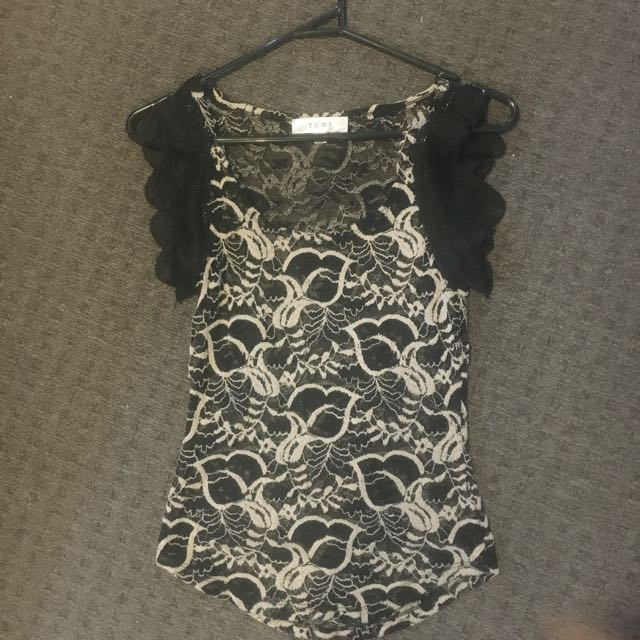Temp Black Lace Top