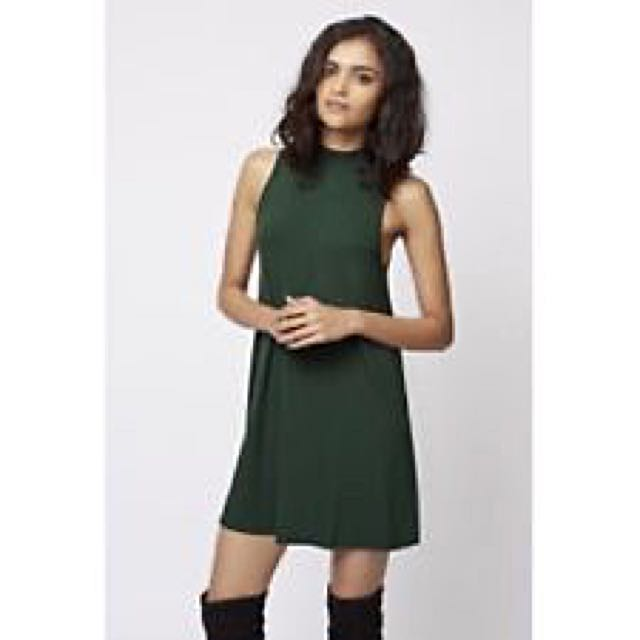4106d130973e Topshop High Neck Swing Dress In Forest Green