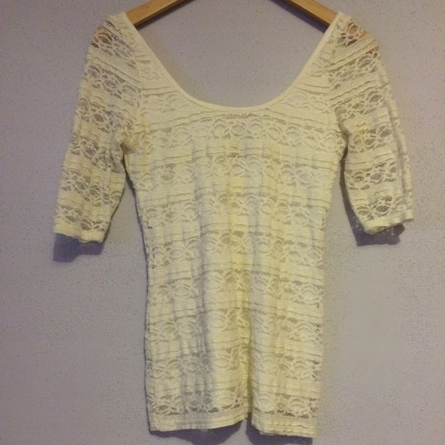 Wet Seal Lace 3/4 Length Shirt