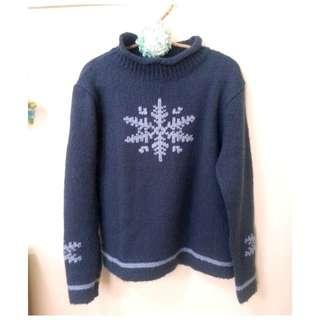 藍色雪花針織毛衣