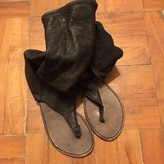 Rococo平㡳露趾靴