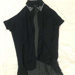 韓版雪紡珍珠罩衫襯衫薄上衣